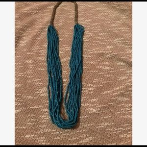 Long Multi Strand Blue and Silver Necklace